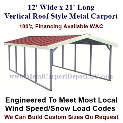 12 X 21 Metal Carport Vertical Roof Style Metal Carport Metal Carport Depot
