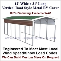 12' x 31' Vertical Roof Style Metal RV Cover