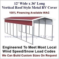 12' x 36' Vertical Roof Style Metal RV Cover