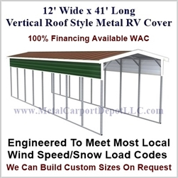 12' x 41' Vertical Roof Style Metal RV Cover