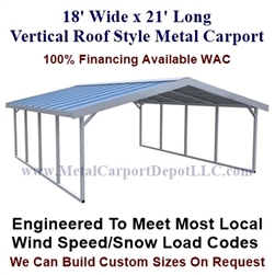 Boxed Eave Style Metal Carport 18' x 21' x 6'