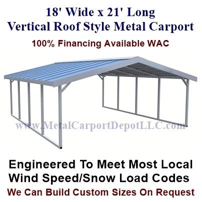 18 X 21 Vertical Roof Carport Sale Price 1 495 00
