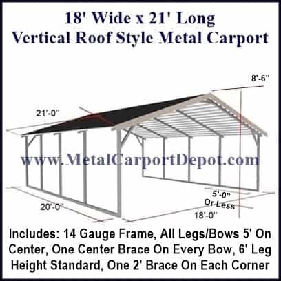 18 X 21 Metal Carport Vertical Roof Style Metal Carport Metal Carport Depot