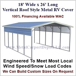 18' x 26' Vertical Roof Style Metal RV Cover