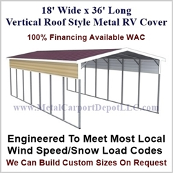 18' x 36' Vertical Roof Style Metal RV Cover