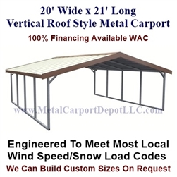 Boxed Eave Style Metal Carport 20' x 21' x 6'