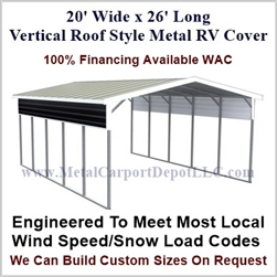20' x 26' Vertical Roof Style Metal RV Cover