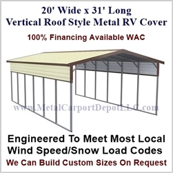 20' x 31' Vertical Roof Style Metal RV Cover