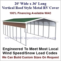 20' x 36' Vertical Roof Style Metal RV Cover
