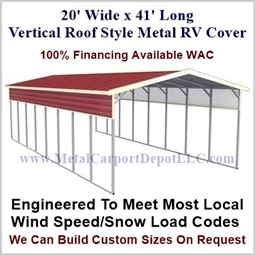 20' x 41' Vertical Roof Style Metal RV Cover