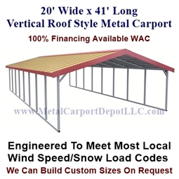 Boxed Eave Style Metal Carport 20' x 41' x6'