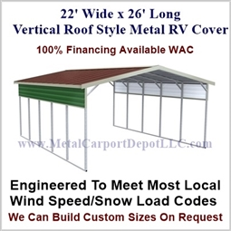 22' x 26' Vertical Roof Style Metal RV Cover