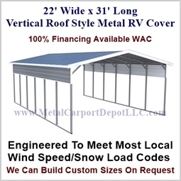 22' x 31' Vertical Roof Style Metal RV Cover