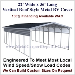 22' x 36' Vertical Roof Style Metal RV Cover