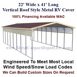 22' x 41' Vertical Roof Style Metal RV Cover