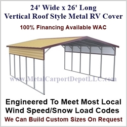 24' x 26' Vertical Roof Style Metal RV Cover