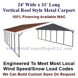 Boxed Eave Style Metal Carport 24' x 31' x 6'
