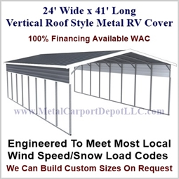 24' x 41' Vertical Roof Style Metal RV Cover