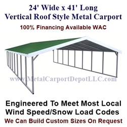 Boxed Eave Style Metal Carport 24' x 41' x 6'
