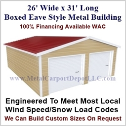 26'x31'x10' Boxed Eave Metal Building