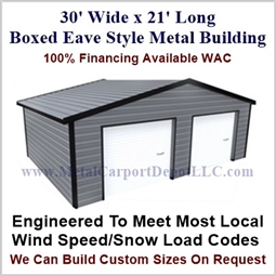 30'x21'x10' Boxed Eave Metal Building