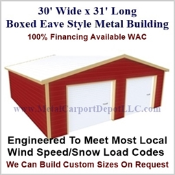 30'x31'x10' Boxed Eave Metal Building