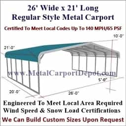 Triple Wide Regular Style Metal Carport 26' x 21' x 6'