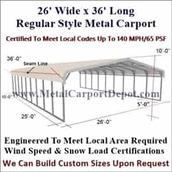Triple Wide Regular Style Metal Carport 26' x 36' x 6'