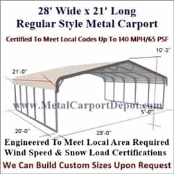 Triple Wide Regular Style Metal Carport 28' x 21' x 6'
