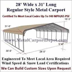 Triple Wide Regular Style Metal Carport 28' x 31' x 6'