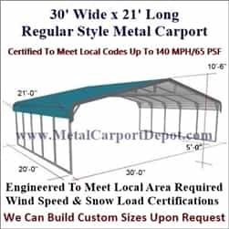 Triple Wide Regular Style Metal Carport 30' x 21' x 6'