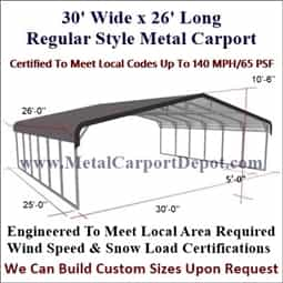 Triple Wide Regular Style Metal Carport 30' x 26' x 6'