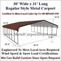Triple Wide Regular Style Metal Carport 30' x 31' x 6'