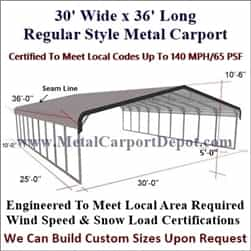 Triple Wide Regular Style Metal Carport 30' x 36' x 6'
