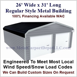 26'x31'x9' Regular Style Metal Building
