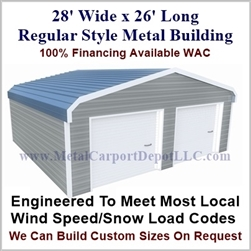28'x26'x9' Regular Style Metal Building