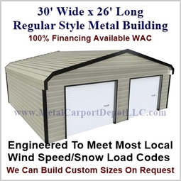 30'x26'x9' Regular Style Metal Building