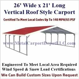 Triple Wide Vertical Roof Boxed Eave Style Metal Carport 26' x 21' x 6'
