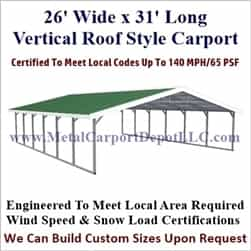 Triple Wide Boxed Eave Style Metal Carport 26' x 31' x 6'