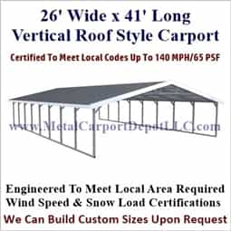 Triple Wide Boxed Eave Style Metal Carport 26' x 41' x 6'