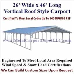 Triple Wide Boxed Eave Style Metal Carport 26' x 46' x 6'