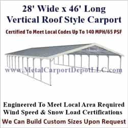 Triple Wide Boxed Eave Style Metal Carport 28' x 46' x 6'
