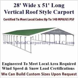 Triple Wide Boxed Eave Style Metal Carport 28' x 51' x 6'