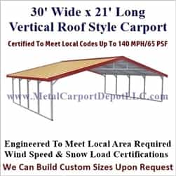 Triple Wide Boxed Eave Style Metal Carport 30' x 21' x 6'