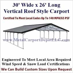 Triple Wide Boxed Eave Style Metal Carport 30' x 26' x 6'
