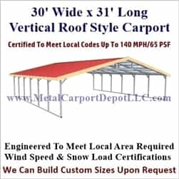 Triple Wide Boxed Eave Style Metal Carport 30' x 31' x 6'
