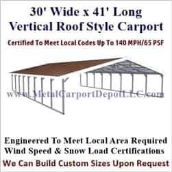 Triple Wide Boxed Eave Style Metal Carport 30' x 41' x 6'