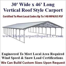 Triple Wide Regular Style Metal Carport 30' x 46' x 6'