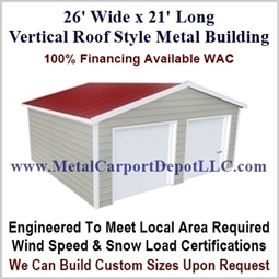 26' x 21' Vertical Roof Style Metal Building