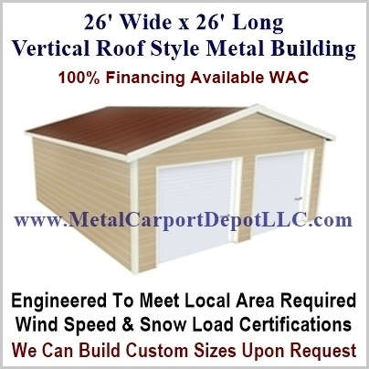 26' x 26' Vertical Roof Style Metal Building. Free Installation!